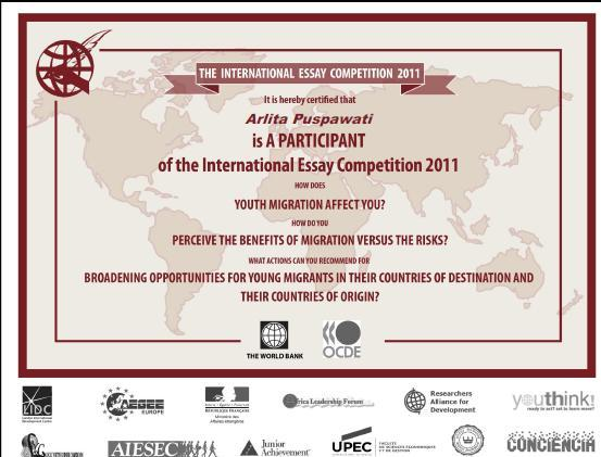 International youth essay competition 2011